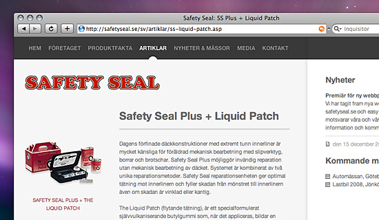 Skärmdump på Safetyseal.se